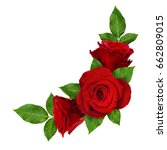 Stock photo red rose flowers with leaves in corner arrangement isolated on white top view 662809015