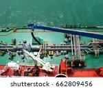 bunkering tanker container ship ...   Shutterstock . vector #662809456