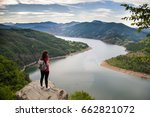 girl explores wall lake travel... | Shutterstock . vector #662821072