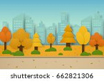 autumn park with trees and... | Shutterstock .eps vector #662821306