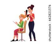 hairdresser drying long hair of ...   Shutterstock .eps vector #662821576