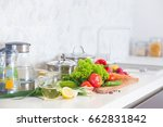 modern kitchen at home with... | Shutterstock . vector #662831842