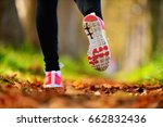 beautiful woman running over... | Shutterstock . vector #662832436