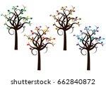 four seasons trees | Shutterstock .eps vector #662840872