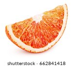 ripe slice of blood red orange... | Shutterstock . vector #662841418