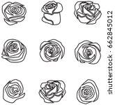 set of roses vector on white... | Shutterstock .eps vector #662845012