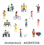 people in various lifestyles ... | Shutterstock .eps vector #662845246