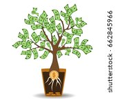 money tree growing from a coin...
