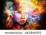 goddess woman in cosmic space.... | Shutterstock . vector #662846392