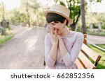 laughing brunette girl with... | Shutterstock . vector #662852356
