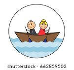 the cartoon couple is sitting...   Shutterstock .eps vector #662859502