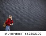 teen hipster girl dressed in... | Shutterstock . vector #662863102