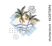 watercolor palm tree print in... | Shutterstock . vector #662870896