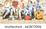 group of multicultural friends... | Shutterstock . vector #662872006