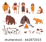 set of stone age theme.... | Shutterstock .eps vector #662872015
