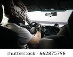 racer in black helmet drives... | Shutterstock . vector #662875798