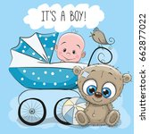 greeting card its a boy with... | Shutterstock . vector #662877022