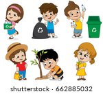 kid help save the world by... | Shutterstock .eps vector #662885032