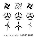 set of fan and wind energy...   Shutterstock .eps vector #662885482