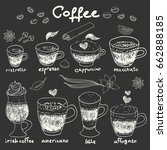 hand drawn doodle coffee set.... | Shutterstock .eps vector #662888185