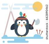 vector penguin character... | Shutterstock .eps vector #662890462