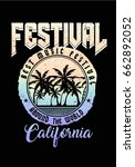 music festival print with palm... | Shutterstock .eps vector #662892052