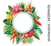 round frame from tropical... | Shutterstock .eps vector #662894656
