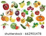 cute fruit  berry  vegetables... | Shutterstock .eps vector #662901478