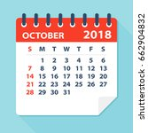 october 2018 calendar leaf  ... | Shutterstock .eps vector #662904832