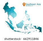 south east asia map   blue... | Shutterstock .eps vector #662911846