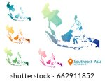 south east asia map   set... | Shutterstock .eps vector #662911852