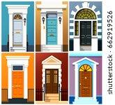 entrance doors. a set of... | Shutterstock .eps vector #662919526