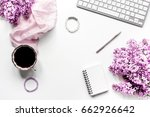 Woman Home Office With Lilic...