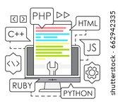 linear web development  ... | Shutterstock .eps vector #662942335