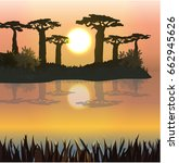 sunset or dawn. baobabs on... | Shutterstock .eps vector #662945626