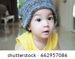 asian baby boy wearing beanie... | Shutterstock . vector #662957086