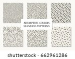 collection of seamless memphis... | Shutterstock .eps vector #662961286