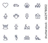 set of 16 family outline icons... | Shutterstock .eps vector #662978002