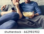 couple watching tv home relax... | Shutterstock . vector #662981902