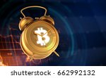 golden clock with dial bitcoin. ... | Shutterstock . vector #662992132