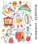set of circus doodle design... | Shutterstock .eps vector #663001018
