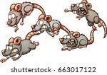 scared cartoon rats running... | Shutterstock .eps vector #663017122