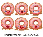 set of six cartoon emoticon... | Shutterstock .eps vector #663029566