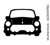 silhouette of car front view.... | Shutterstock .eps vector #663030982
