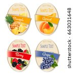 set of labels of berries and... | Shutterstock .eps vector #663031648