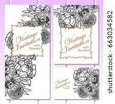 romantic invitation. wedding ... | Shutterstock .eps vector #663034582