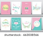 set of birthday cards poster... | Shutterstock .eps vector #663038566