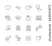 heart and pulse vector line... | Shutterstock .eps vector #663041872