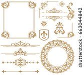 vintage set. floral elements... | Shutterstock . vector #663044842