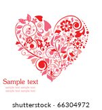 greeting card with floral heart ... | Shutterstock .eps vector #66304972